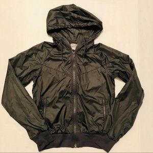 Nike Windbreaker Jacket Dark Gray Hooded S (4-6)